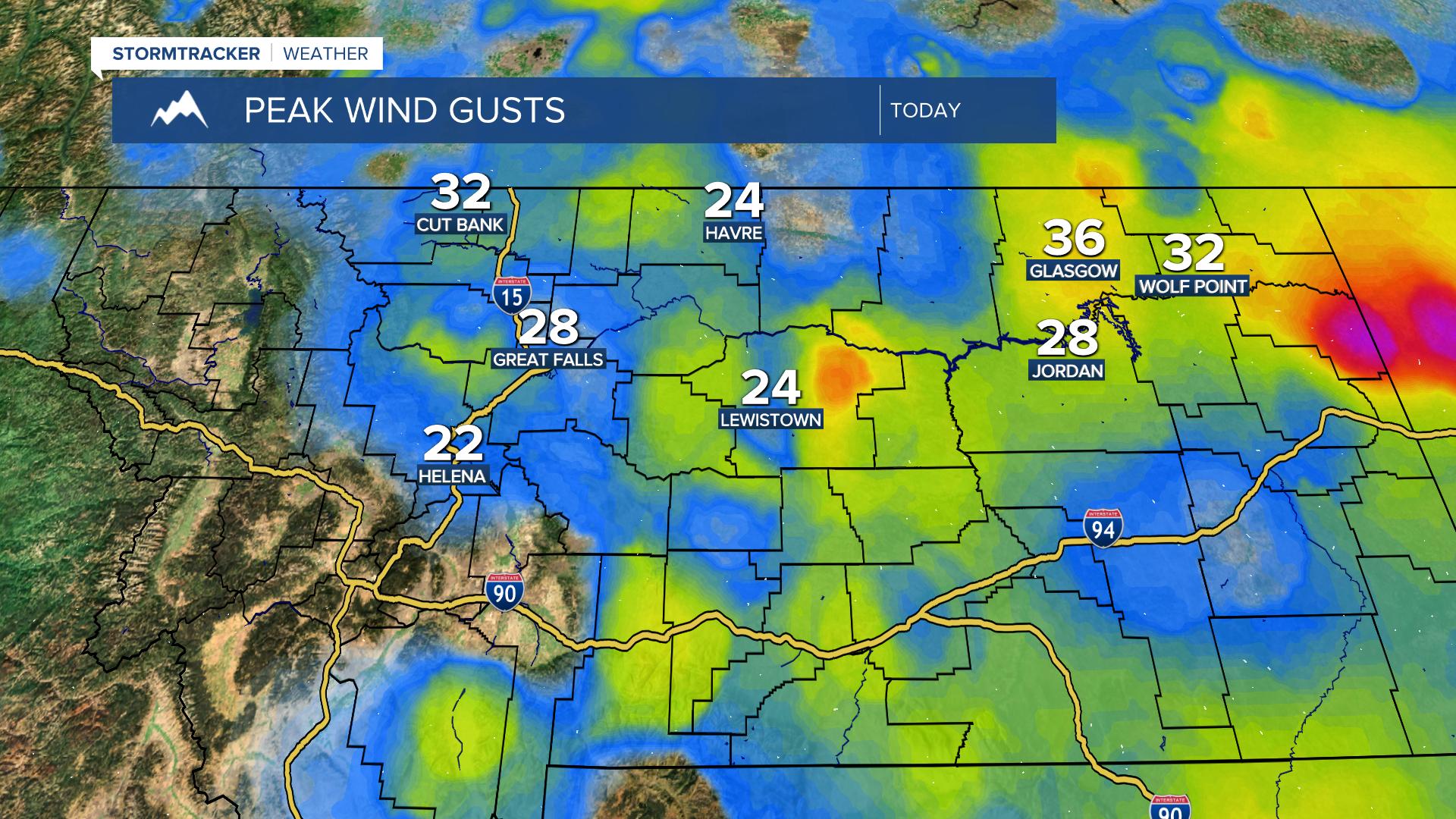 MT Peak Wind Gust Today