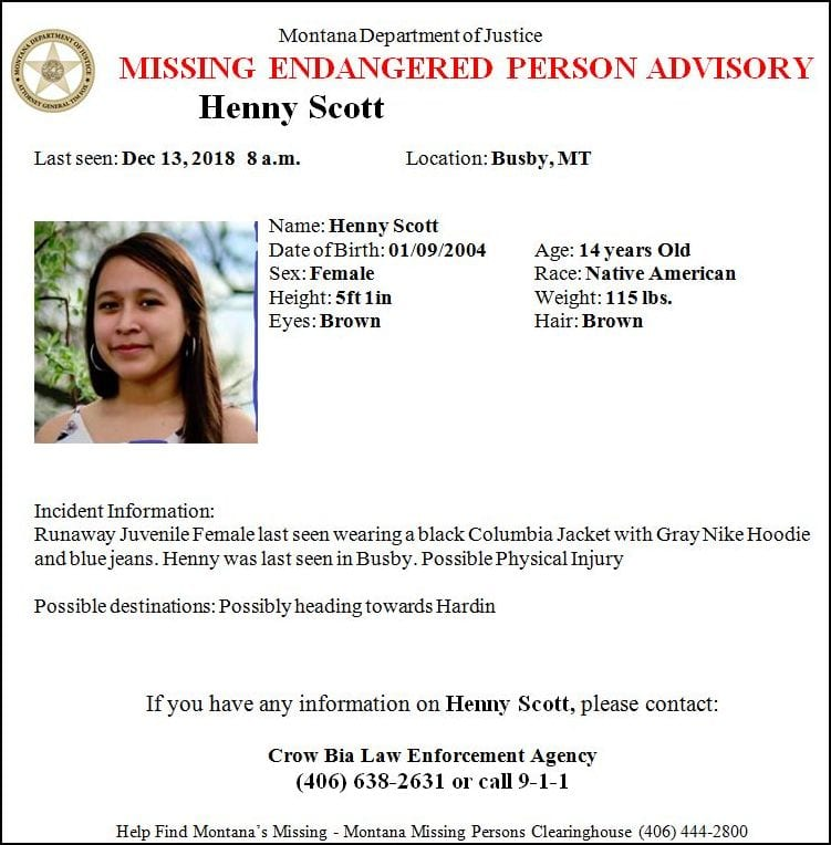 Missing/Endangered Person Advisory issued for Montana teen