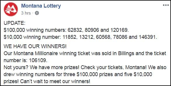 Winning number drawn in the Montana Millionaire lottery