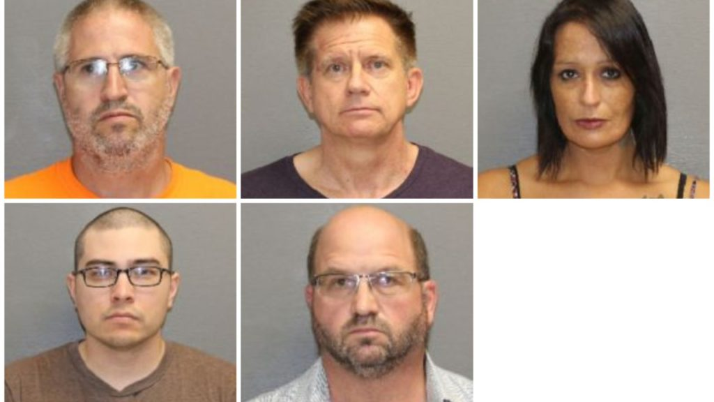 Pictured clockwise from top left: Kurt Alan Anderson, Mark William Brothers, Terry Francis McCann, David Komesu Javner, Paul George Waldner (Courtesy: Cascade County Sheriff's Office)